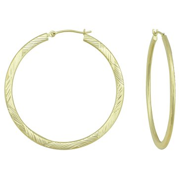14K Yellow Gold Diamond Cut 39mm Hoop Earrings