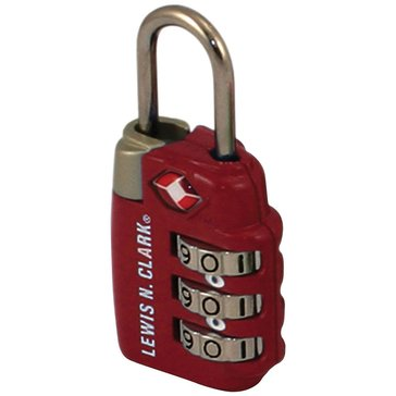 Lewis N. Clark Combo Lock 3 Dial - Red