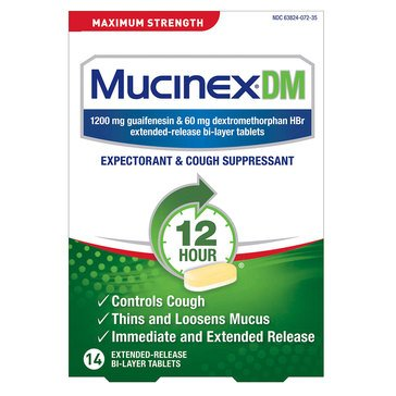 Mucinex DM Expectorant & Cough Suppressant 1200mg 14ct Tablets