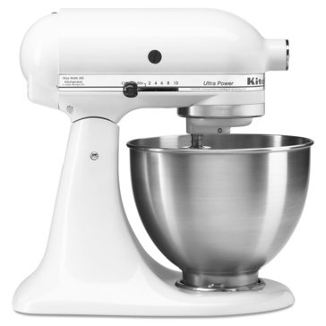 KitchenAid KSM75WH Classic Plus Series 4.5Qt Tilt-Head Stand Mixer, White