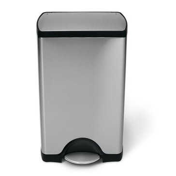 SimpleHuman Rectangular 38-Liter Steel Step Trash Can