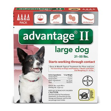 Advantage Flea and Tick Treatment for Dogs 21-55 lbs., 4 Treatments