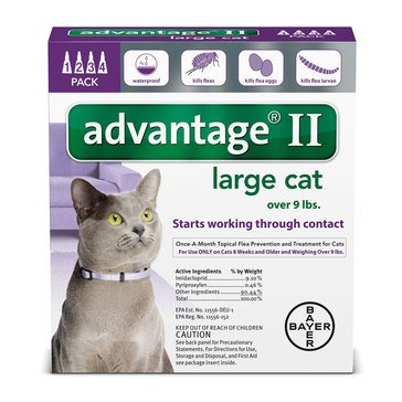 Advantage Flea and Tick Treatment for Cats Over 9 lbs., 4 Treatments