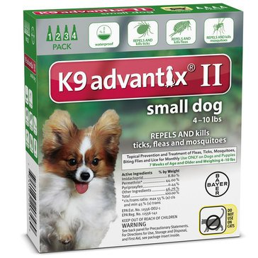 K9 Advantix Flea & Tick Treatment For Dogs 4-10 lbs., 4 Treatments