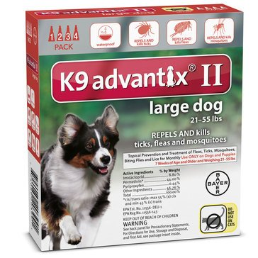 K9 Advantix Flea & Tick Treatment For Dogs 21-55 lbs., 4 Treatments