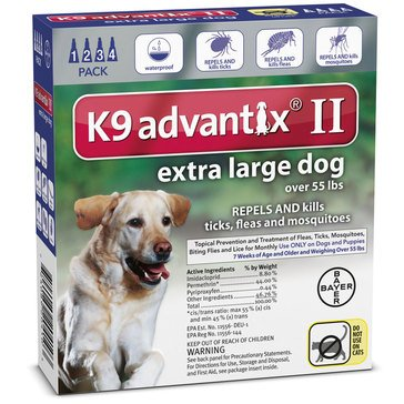 K9 Advantix Flea & Tick Treatment For Dogs 55 lbs. Plus, 4 Treatments