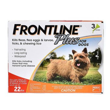 Frontline Plus For Dogs Flea and Tick 0-22 lbs., 3 Pack