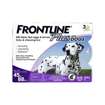 Frontline Plus For Dogs Flea and Tick 45-88 lbs., 3 Pack