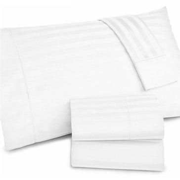 Charter Club Damask Stripe 500 Thread-Count Sheet Set, White - Queen