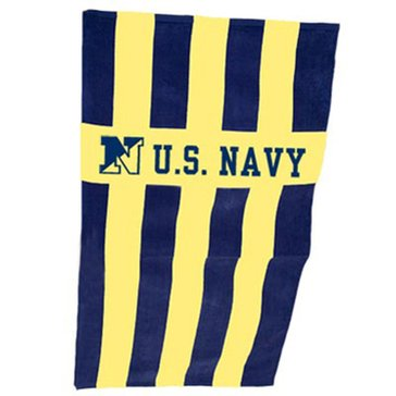 Storm Duds USN Cabana Striped Beach Towel - Navy/Gold
