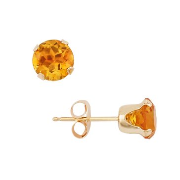10K 6mm Round Citrine Earrings