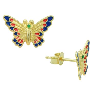 10K Multi Enamel Butterfly Earrings