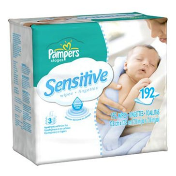 Pampers Sensitive Baby Wipes, 192-Count (3-Pack)