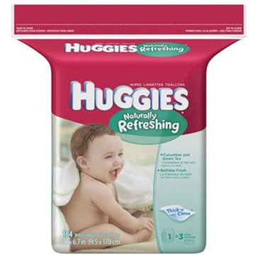 Huggies Naturally Refreshing Cucumber & Green Tea Scented Baby Wipes, 184-Count