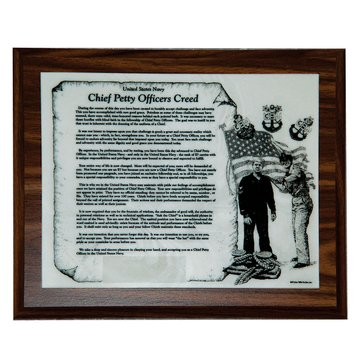 John Wills Studios Inc. USN Female Chief And Sailor CPO Creed Plaque