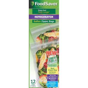 FoodSaver Vacuum Zipper Gallon Bags, 12-Count (FSFRBZ0316)