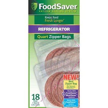FoodSaver Quart-Sized Vacuum Zipper Bags, 18-Count (FSFRBZ2016)
