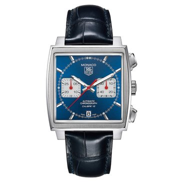 Tag Heuer Men's Monaco Calibre 12 Blue Alligator Strap Watch, 39mm