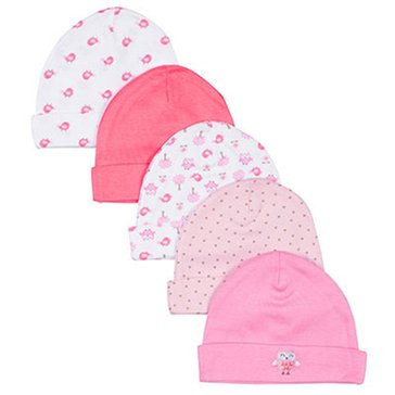 Gerber Baby Girls' 5-Pack Assorted Caps
