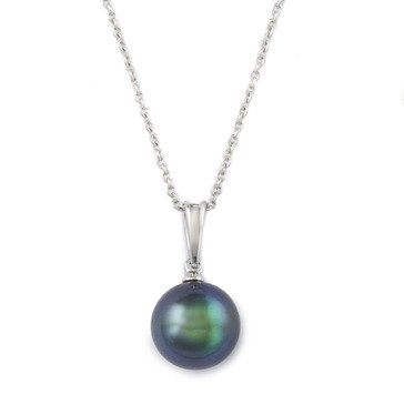 Blue Lagoon By Mikimoto 14K White Gold 8mm Black South Sea Pearl Pendant