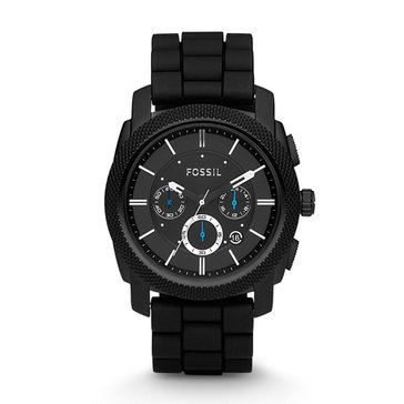 Fossil Men's Chronograph Machine Black Silicone Strap Watch, 45mm