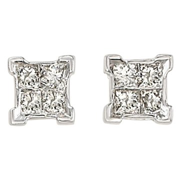 10K White Gold 1/4 cttw Quad Princess Earrings