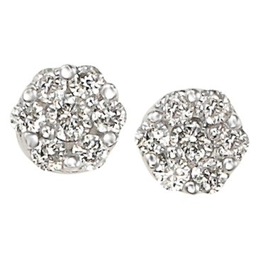 10K White Gold 1/4cttw Cluster Earrings