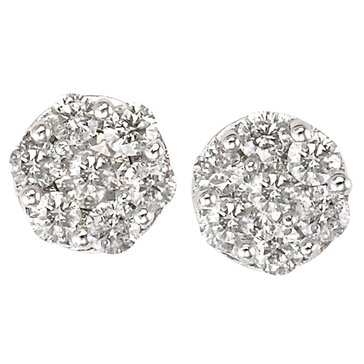 10K White Gold 1/2 cttw Cluster Earrings