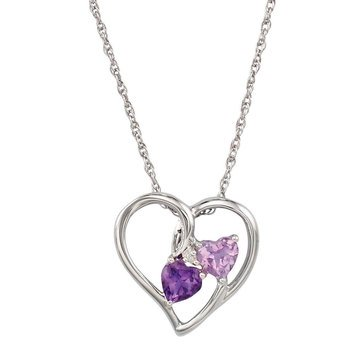 Amethyst & Diamond Heart Pendant, Sterling Silver