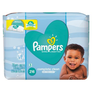 Pampers Baby Fresh Scented Baby Wipes, 216-Count (3-Pack)