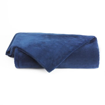 Berkshire Plush Blanket, Navy - Full/Queen