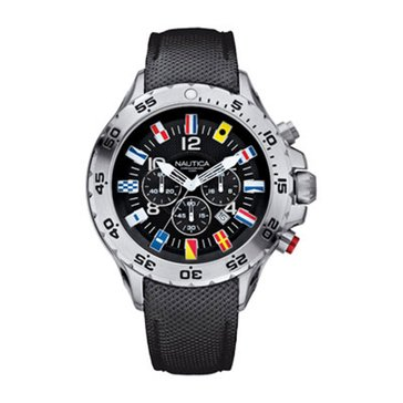 Nautica Men's NST Flags Black Dial Chronograph Watch, 49mm