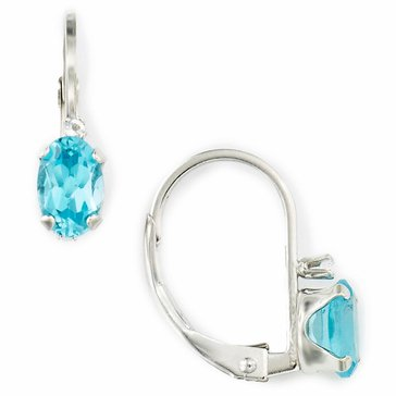 Sterling Silver Round Blue Topaz Earrings