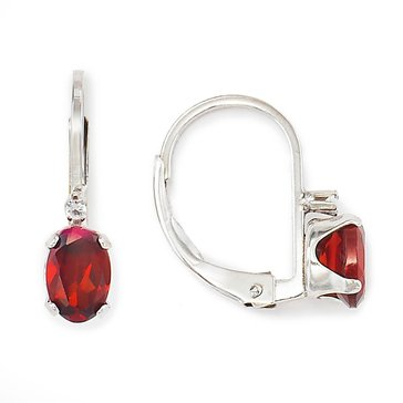 Sterling Silver Oval Garnet Lever Back Earrings