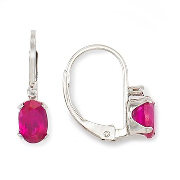 Sterling Silver Oval Created Ruby Lever Back Earrings