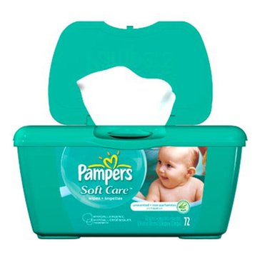 Pampers Natural Clean Unscented Baby Wipes, 72-Count Tub