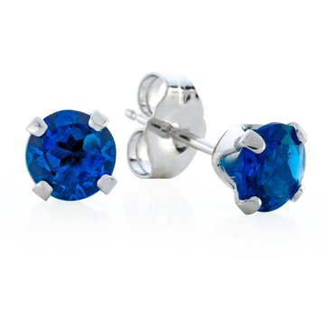 Sterling Silver Round Created Sapphire Earrings