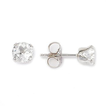 Sterling Silver Round White Topaz Earrings