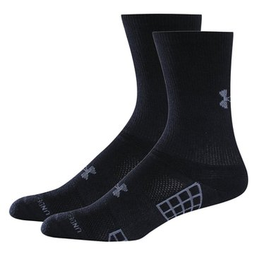 Under Armour Heat Gear 3 Crew 2PK Socks - Black