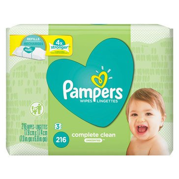 Pampers Natural Clean Unscented Baby Wipes, 216-Count (3-Pack)