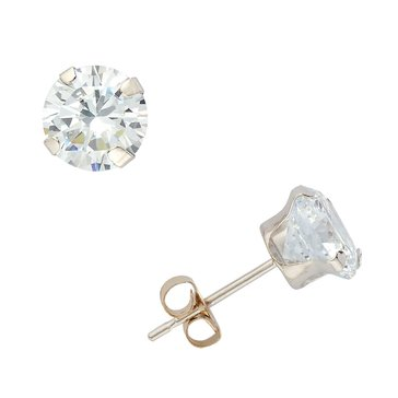 10K White Gold 6mm Round CZ Earrings