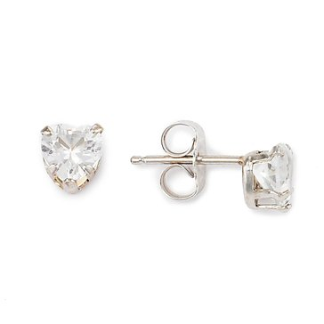 Sterling Silver Heart Shaped White Topaz Earrings