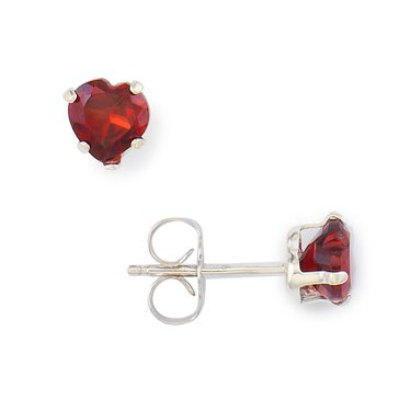 Sterling Silver Heart Shaped Garnet Earrings
