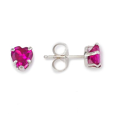 Sterling Silver Heart Sharped Created Ruby Earrings