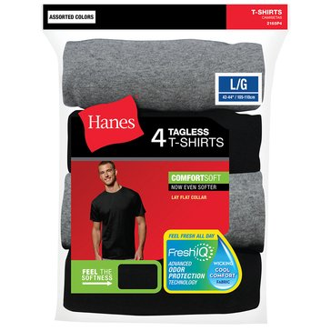 Hanes Men's Tagless Tee, 4-Pack