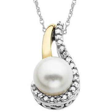 14K & Sterling Silver Pearl and Diamond Pendant