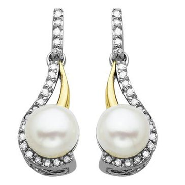 14K & Sterling Silver Pearl and Diamond Earrings