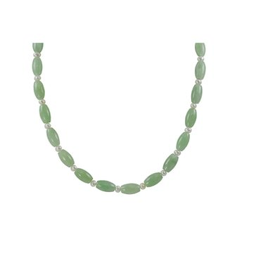 Dyed Jade & Pearl Bead Necklace, Sterling Silver