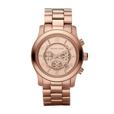 Michael Kors Men's Chronograph Runway Rose Gold Plated Stainless Steel Bracelet Watch 46mm