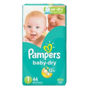 Pampers Baby-Dry Jumbo-Pack 44-Count Diapers, Size 1